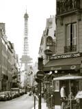 Eiffel Tower and Cafe on Boulevard De La Tour Maubourg  Paris  France