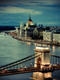 Hungary  Budapest  Parliament Buildings  Chain Bridge and River Danube