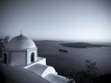 Greece  Cyclades  Santorini  Fira (Thira)  Church and View of Santorini Caldera