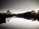 Switzerland  Valais  Zermatt  Lake Stelli and Matterhorn (Cervin) Peak