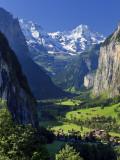 Switzerland  Bernese Oberland  Lauterbrunnen Town and Valley