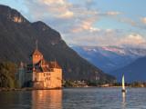 Switzerland  Vaud  Montreaux  Chateau De Chillon and Lake Geneva (Lac Leman)
