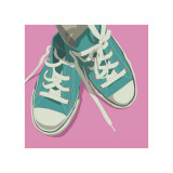 Lowtops (blue on pink)