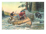 Outdoorsmen Facing Bear