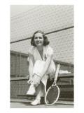 Woman Tennis Player Adjusting Stocking