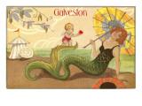Mermaid with Parasol  Galveston  Texas