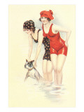 Women in Bathing Costumes with Terrier