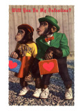 Will You Be My Valentine Chimps with Heart Suitcases