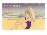 Newport  Rhode Island  Girl on Beach with Parasol