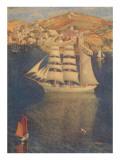 Three-Masted Sailing Ship in Harbor