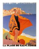 La plage de Calvi Reproduction d'art par Roger Broders