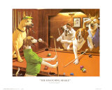 Jeu de billard entre chiens Reproduction d'art par Arthur Sarnoff