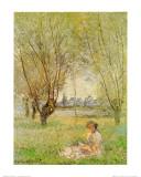 Femme assise sous les saules Reproduction d'art par Claude Monet