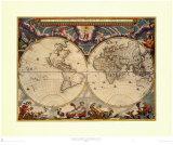 Carte du monde Reproduction d'art par Joan Blaeu