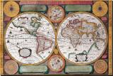Antique Map, Terre Universelle, 1594 Tableau sur toile par Petro Plancio