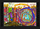 Qui a mangé toutes mes fenêtres  Reproduction d'art par Friedensreich Hundertwasser