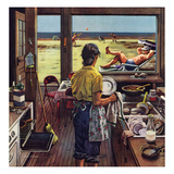 """""""Doing Dishes at the Beach""""  July 19  1952"""