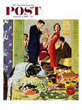 """Doggy Buffet"" Saturday Evening Post Cover  January 5  1957"