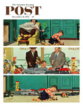 """New Toy Train"" Saturday Evening Post Cover  December 19  1953"
