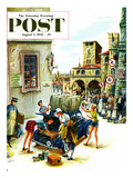 """Coed Tourists in Italy"" Saturday Evening Post Cover  August 2  1958"
