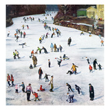 """Fox River Ice-Skating"", January 11, 1958 Giclée par John Falter"