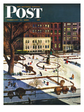 """Gramercy Park"" Saturday Evening Post Cover  February 11  1950"