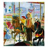 """""""Amusement Park Carousel""""  August 9  1958"""