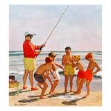 """Big Pole Little Fish"", September 1, 1956 Giclée par Richard Sargent"
