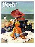 """""""Baby & Nail Polish"""" Saturday Evening Post Cover  July 22  1950"""