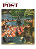 """Boating in Central Park"" Saturday Evening Post Cover  July 11  1953"