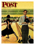 """Bowling Strike"" Saturday Evening Post Cover  January 28  1950"