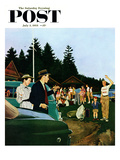 """""""First Day at Camp"""" Saturday Evening Post Cover  July 3  1954"""