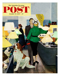 """St Bernard in Lamp Shop"" Saturday Evening Post Cover  October 25  1952"