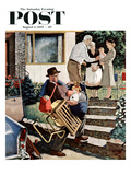 """Visiting the Grandparents"" Saturday Evening Post Cover  August 3  1957"