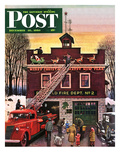 """Christmas at the Fire Station"" Saturday Evening Post Cover  December 16  1950"