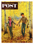 """""""Walk in the Forest"""" Saturday Evening Post Cover  October 18  1952"""