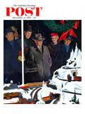 """Christmas Train Set"" Saturday Evening Post Cover, December 15, 1956 Giclée par George Hughes"