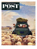 """""""Oregon or Bust"""" Saturday Evening Post Cover  August 4  1951"""