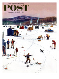"""Ice Fishing Camp"" Saturday Evening Post Cover  January 12  1957"