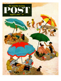 """""""Couples at the beach"""" Saturday Evening Post Cover  August 2  1952"""