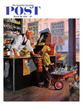 """""""Returning Bottles for Refund"""" Saturday Evening Post Cover  March 28  1959"""