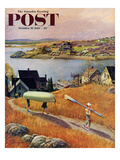 """Children with Rowboat"" Saturday Evening Post Cover  October 31  1953"