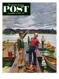 """""""Showing Off the Big One"""" Saturday Evening Post Cover  September 15  1951"""