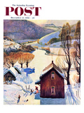 """""""Snow on the Farm"""" Saturday Evening Post Cover  December 22  1956"""
