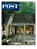 """Rain-out Birthday Party"" Saturday Evening Post Cover  May 22  1954"