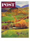 """""""Football in the Country"""" Saturday Evening Post Cover  October 8  1955"""