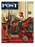 """Boy on Fire Truck"" Saturday Evening Post Cover  November 14  1953"
