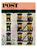 """Apartment Clarinetist"" Saturday Evening Post Cover  April 19  1958"