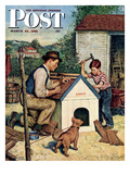 """Building the Doghouse"" Saturday Evening Post Cover  March 24  1951"