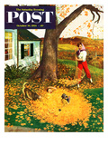 """Leaf Pile"" Saturday Evening Post Cover  October 16  1954"